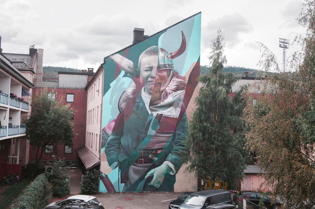 mural de telmo & miel de un niño llorando