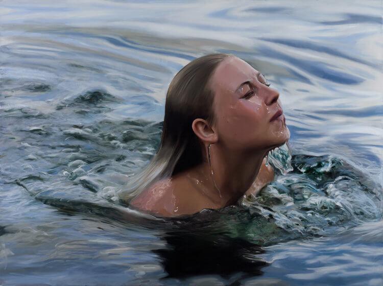 Chica saliendo del agua, pintura de reisha pelmutter
