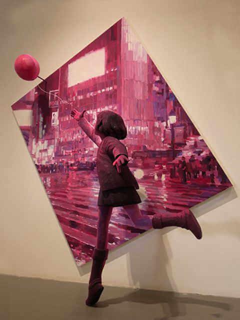 cuadro de Shintaro Ohata representando a una niña tras un globo