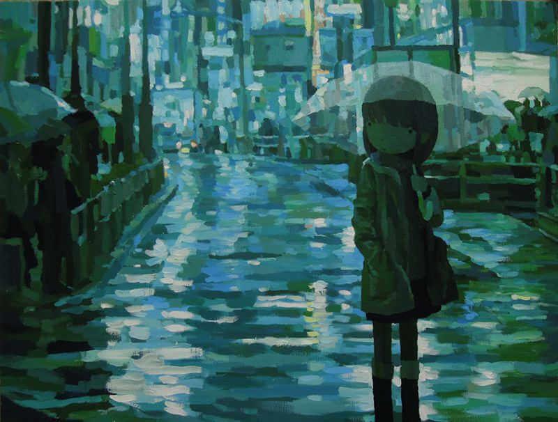 ilustración que mezcla el 2d y el 3d de una niña bajo la lluvia del artista japones Shintaro Ohata