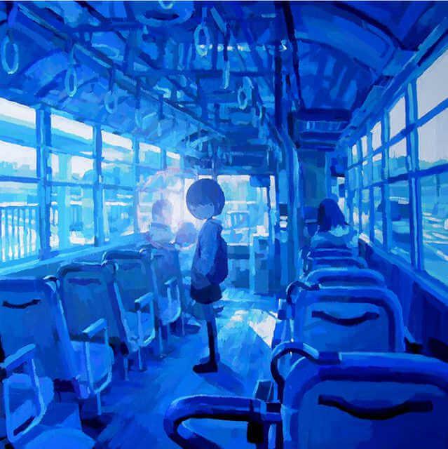 ilustración en acuarela de una niña en un autobús creada por el artista japones Shintaro Ohata