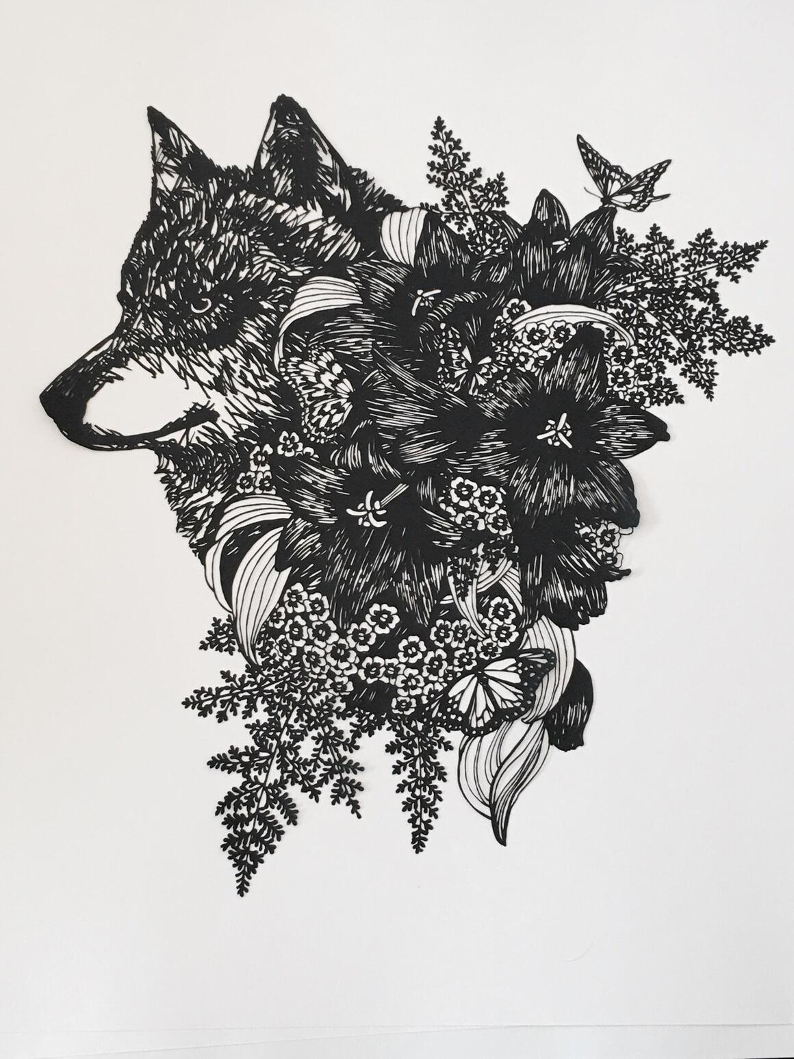 arte con papel cortado por Kanako Abe