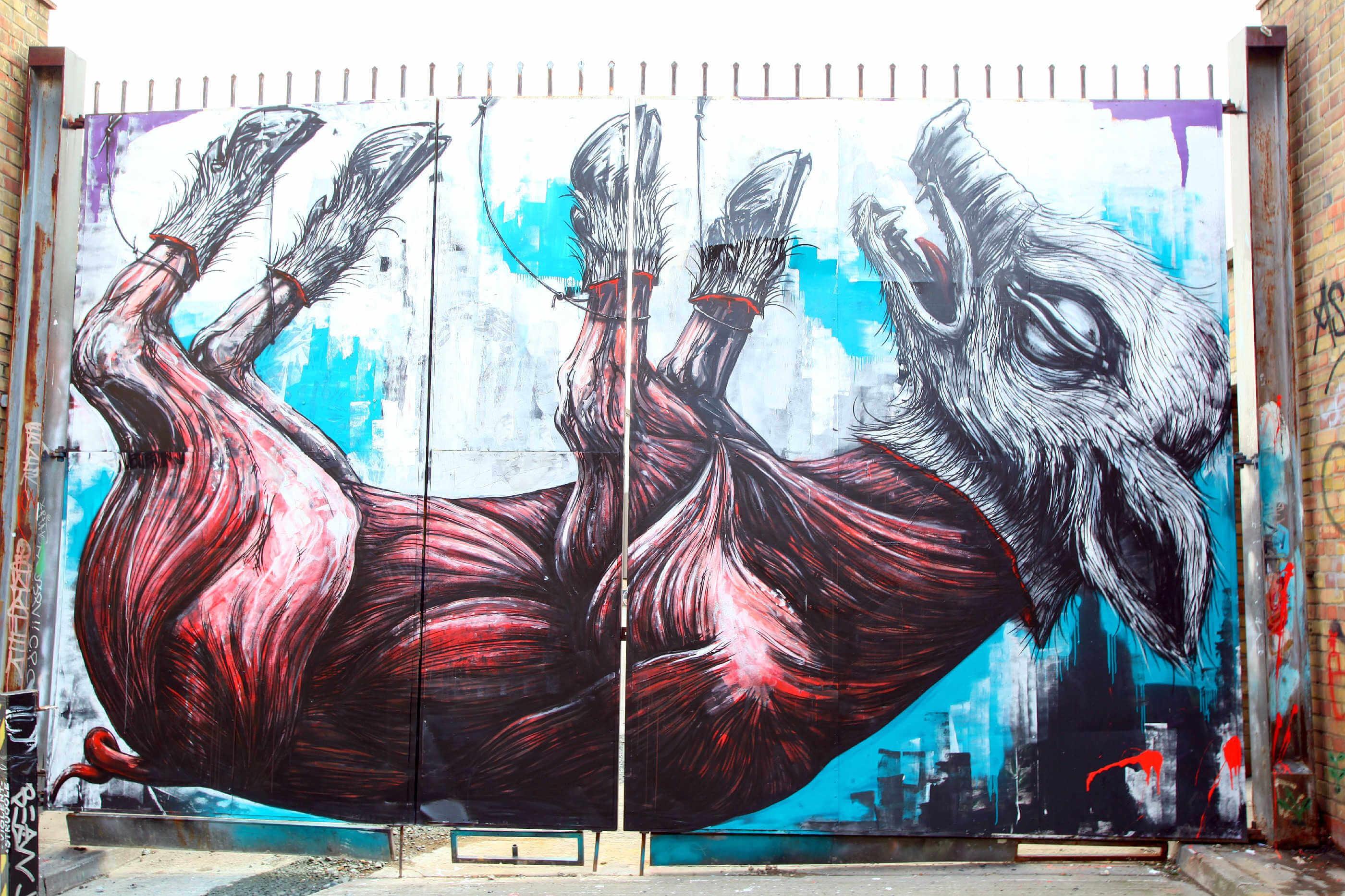Roa street art pig