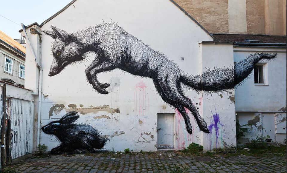 Roa rat street art graffiti