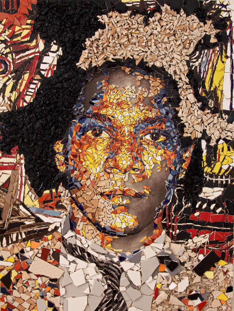 El artista Basquiat en un mosaico