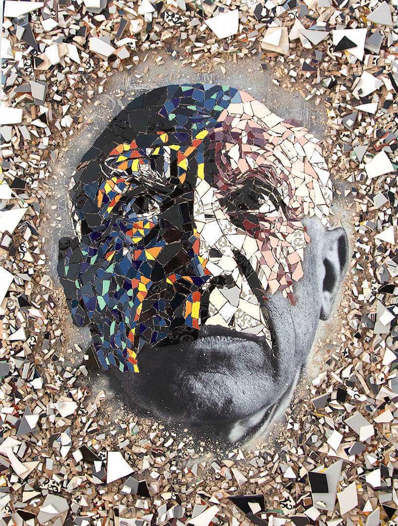 Pablo picasso en mosaico tradicional