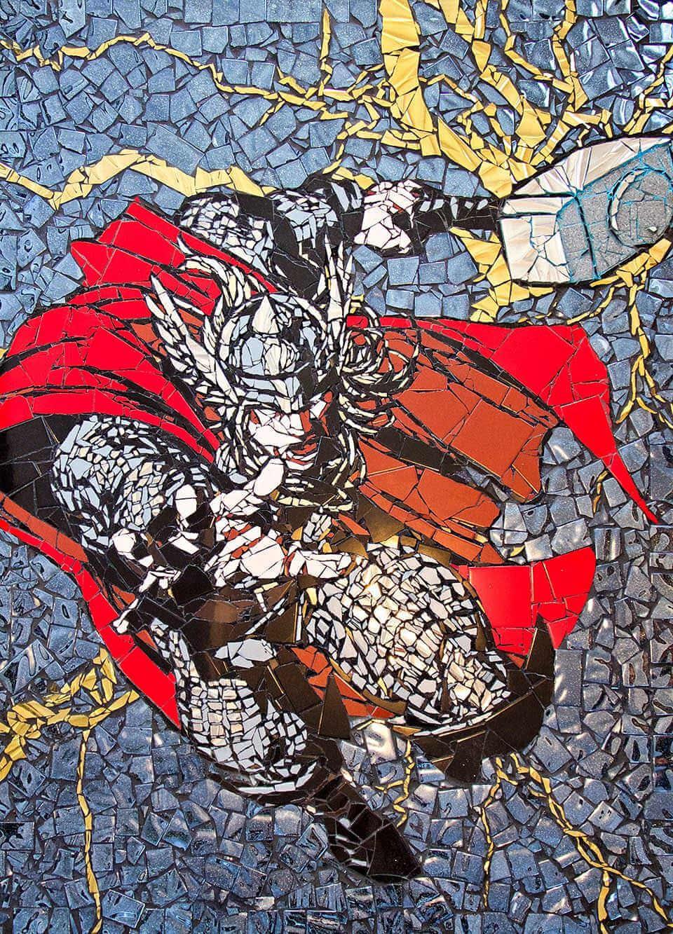 Impresionante mosaico de superheroe thor