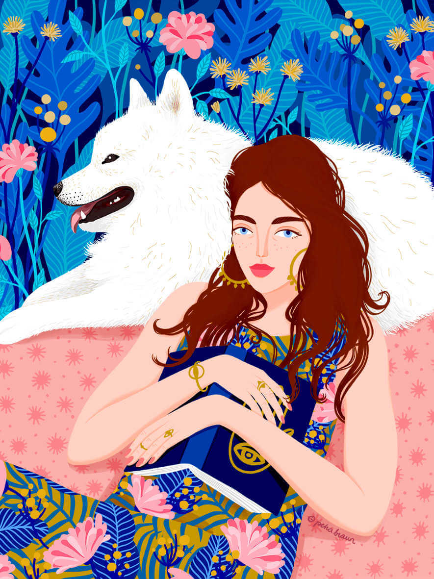 Pintura de chica y lobo pintada por petra braun