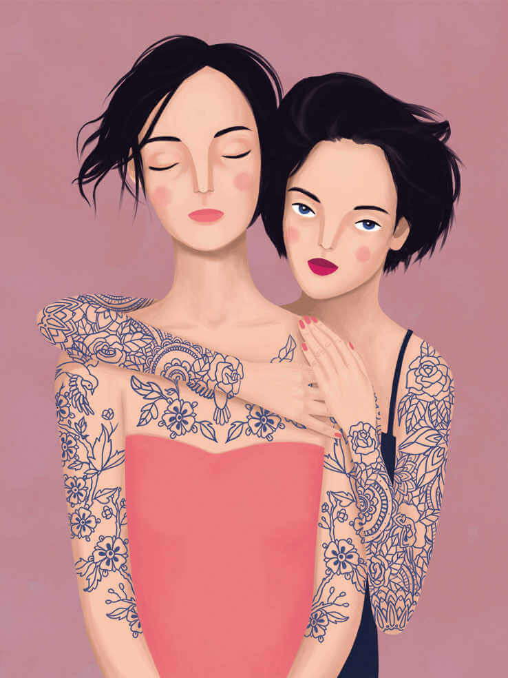 Ilustración de chicas tatuadas de petra braun