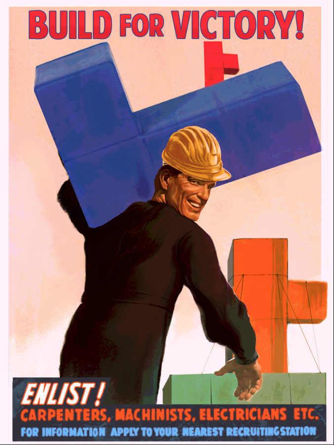 Cartel de videojuego tetris con estética de propaganda rusa