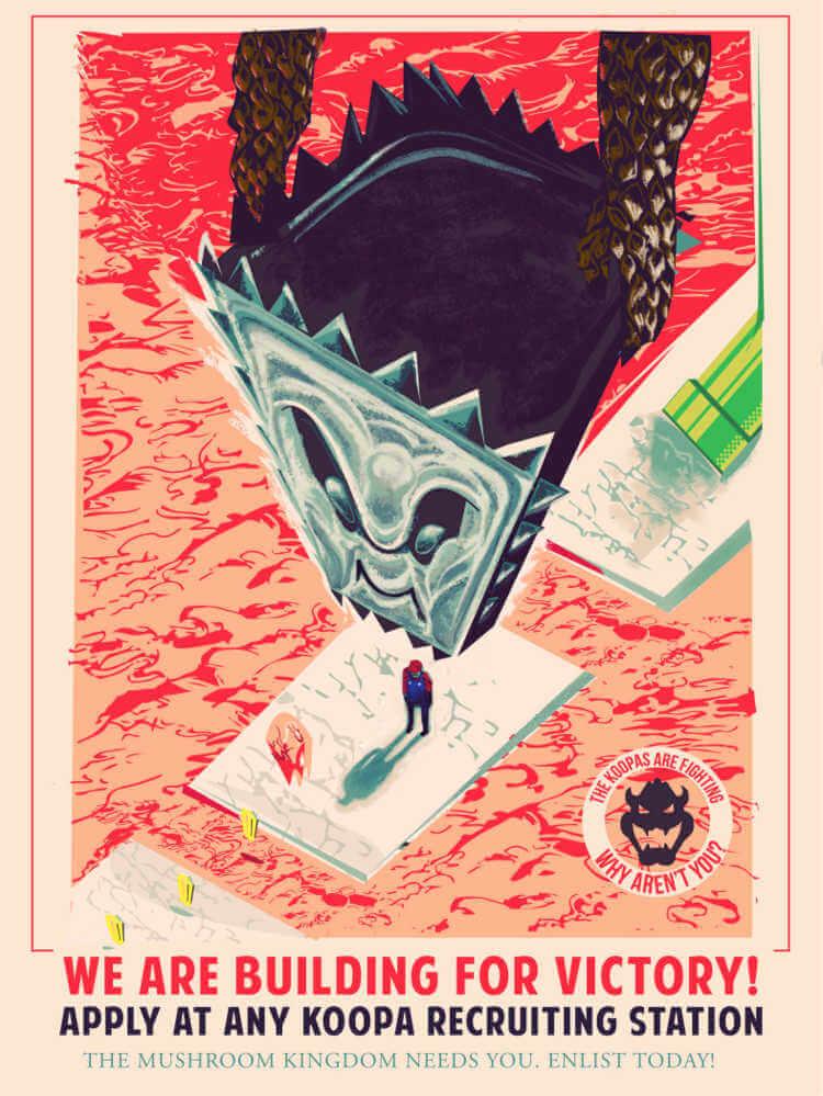 Cartel de super mario bros con estética de la segunda guerra mundial