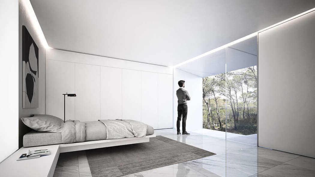 Dormitorio minimalista como ejemplo de diseño de interiores