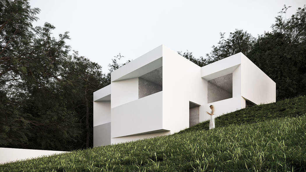 casa minimalista con jardín
