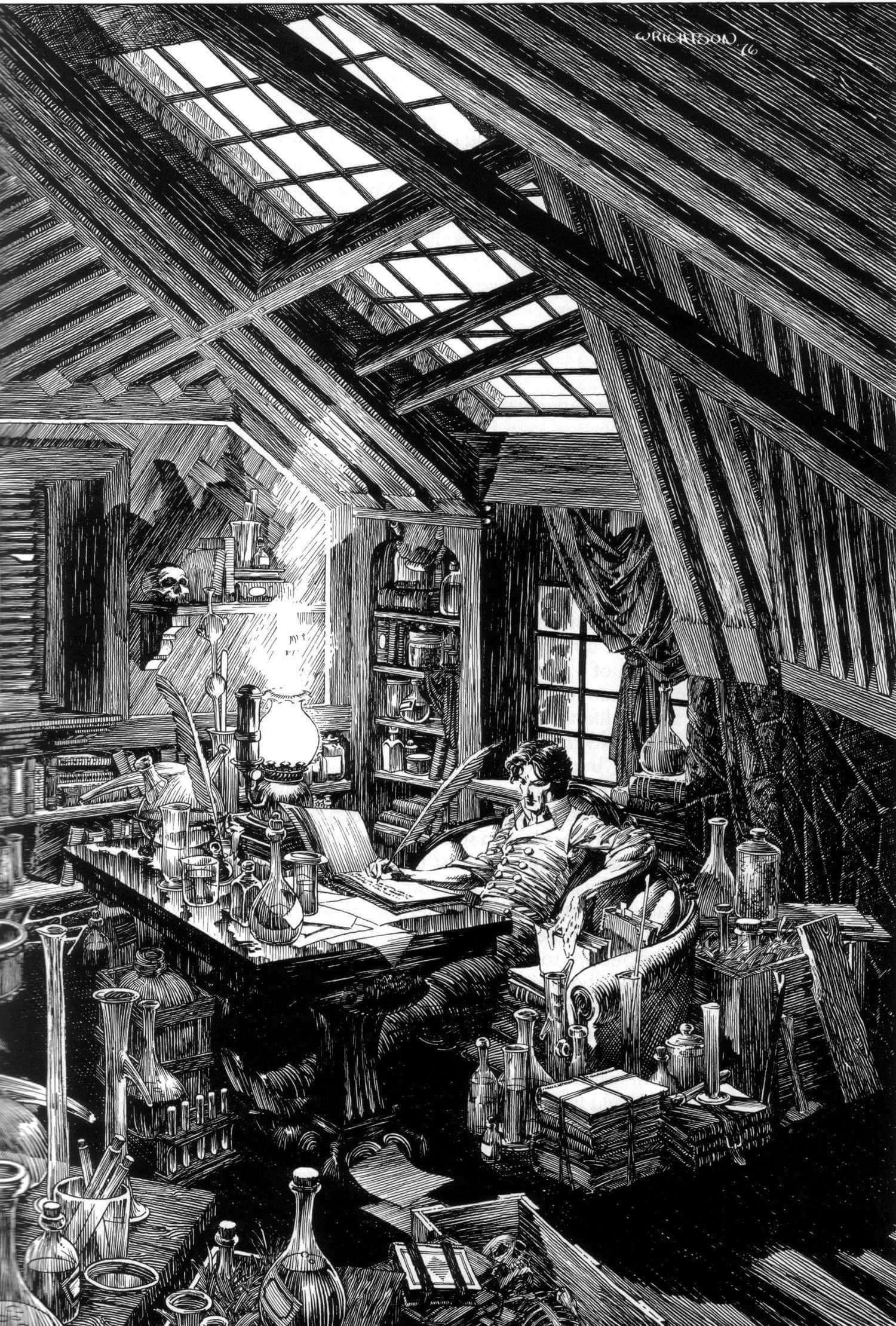 bernie wrightson ilustracion en blanco y negro