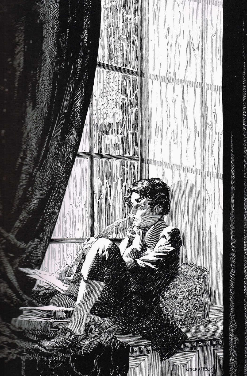 Dibujo realista en blanco y negro de Bernie Wrightson