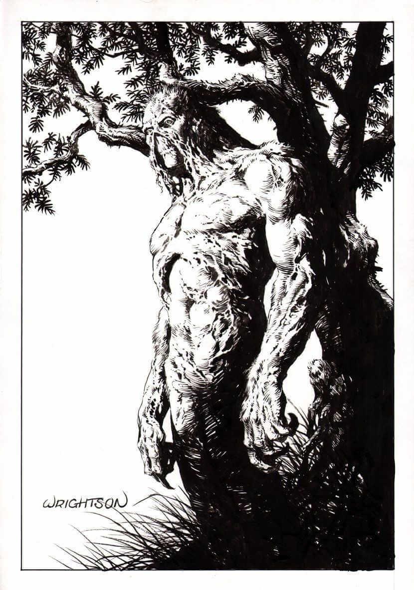 ilustración de La cosa del pantano hecha por Bernie Wrightson