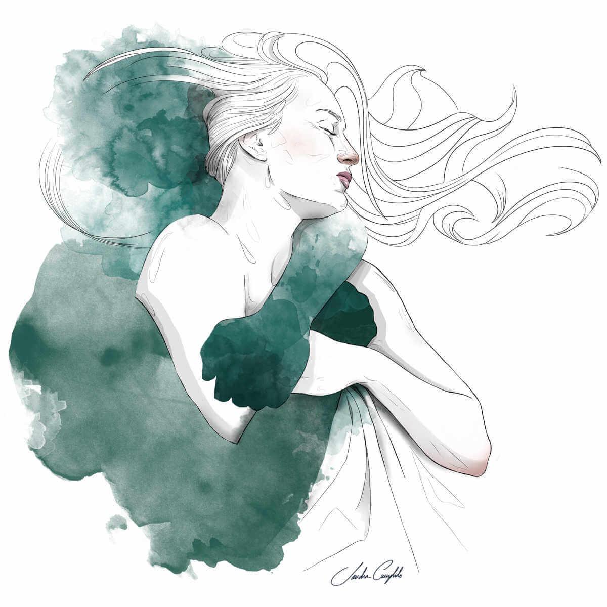 Mujer abrazda por sombra de sandra cumplido