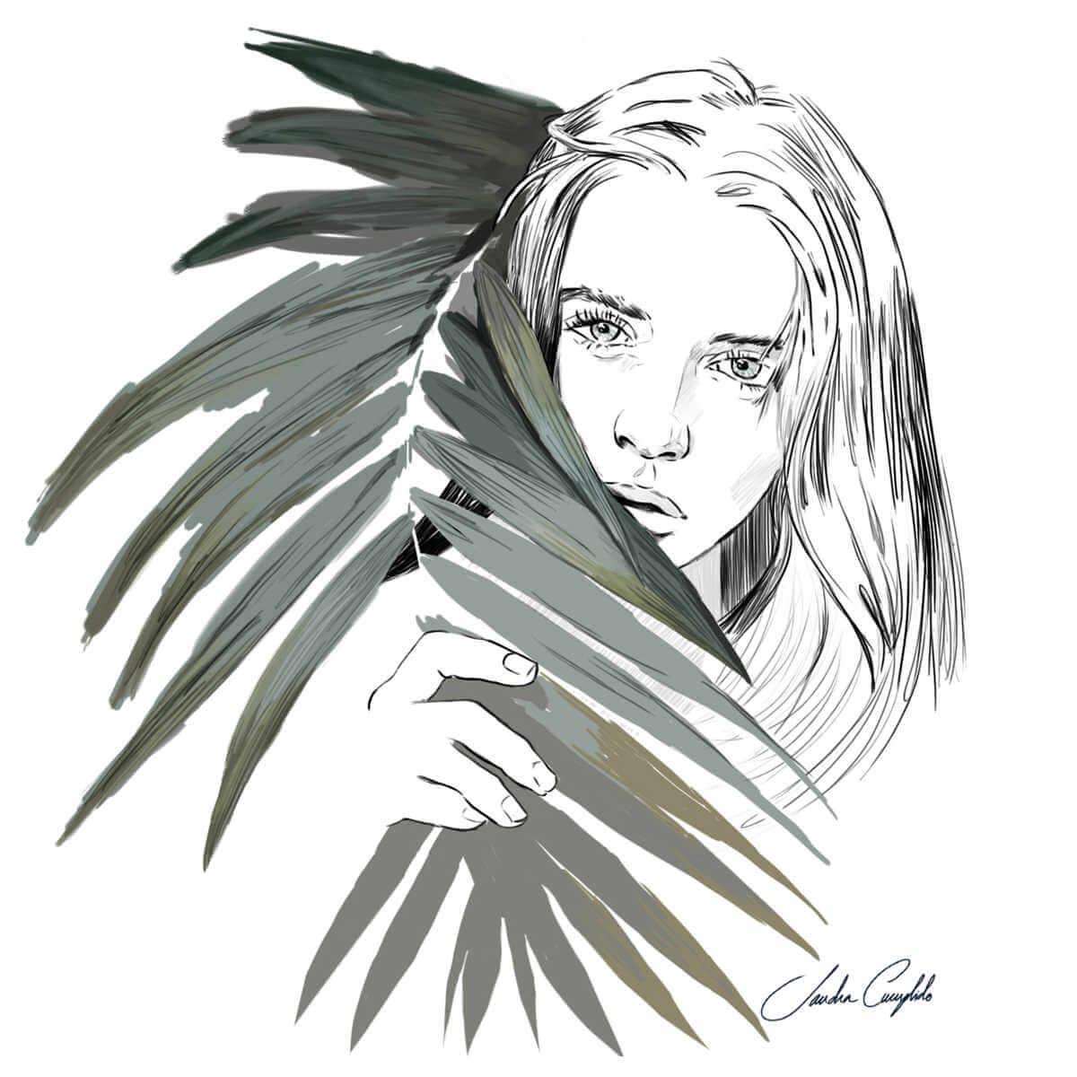 ilustración de chica tras hoja de sandra cumplido