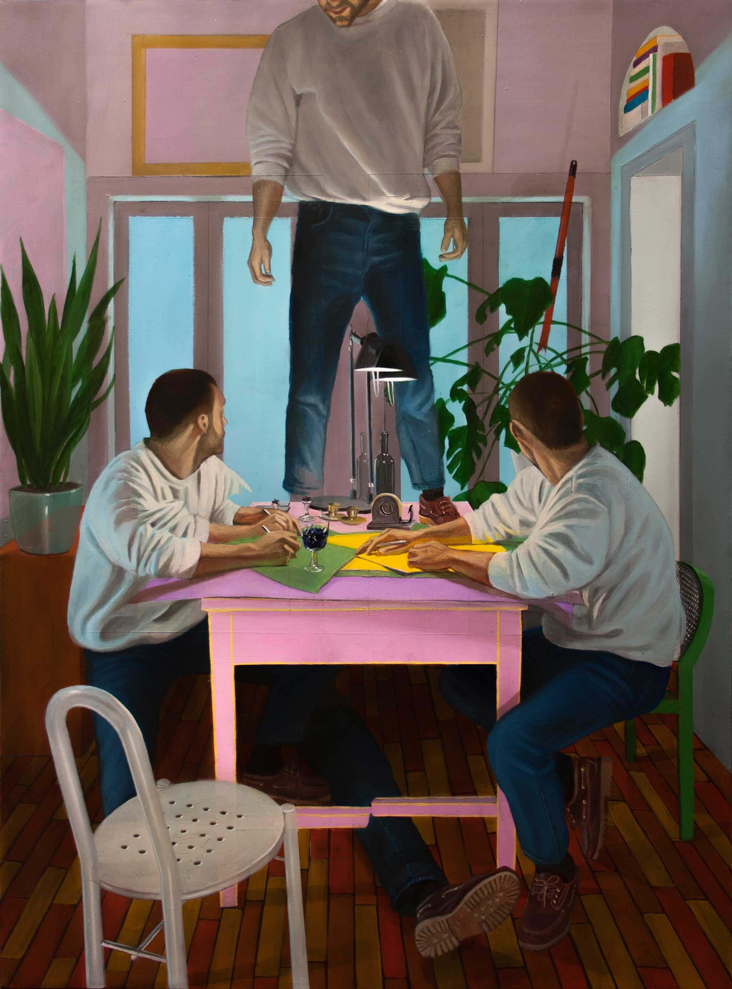 Pintura sobre lienzo de chicos en habitación