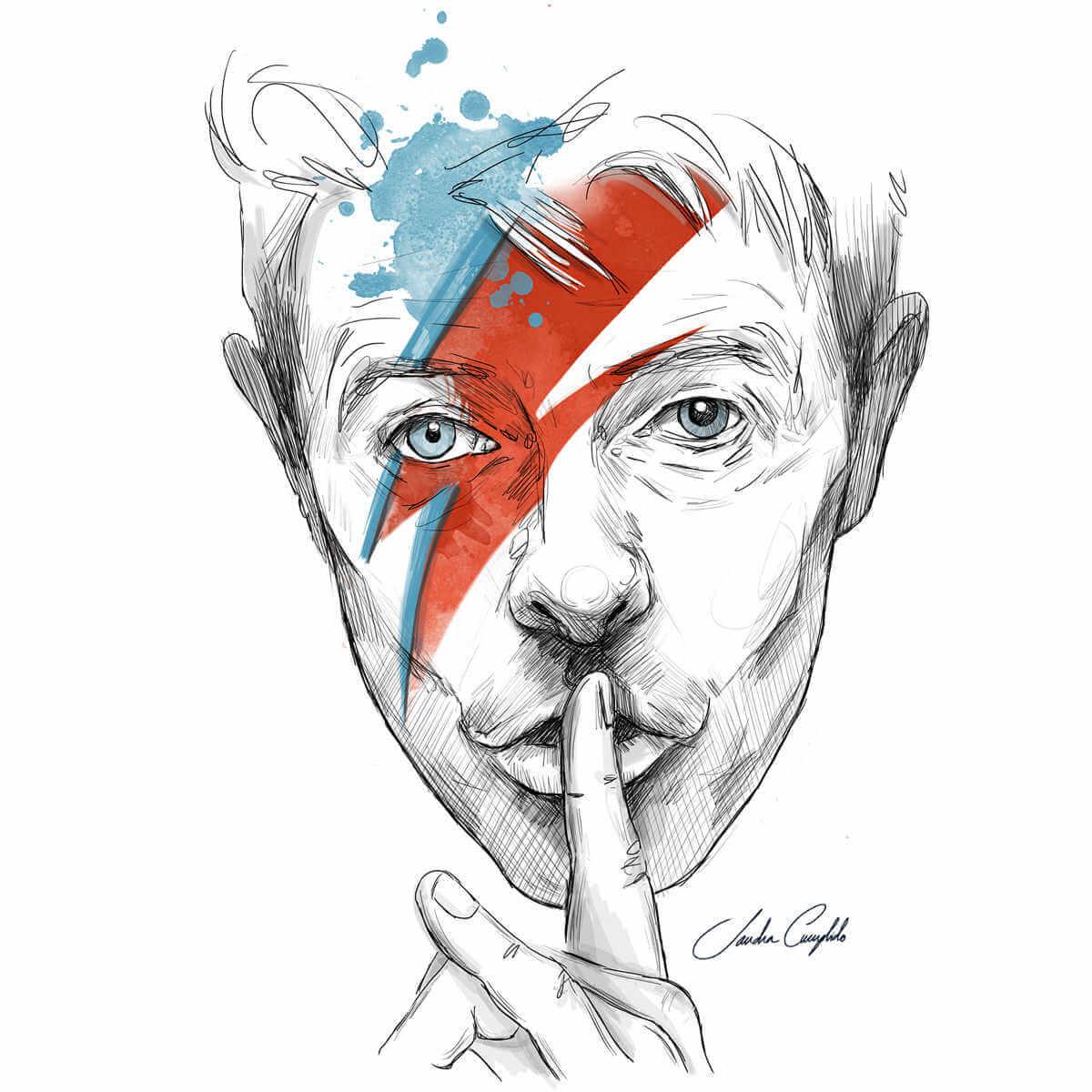 ilustración de david bowie aguacolor