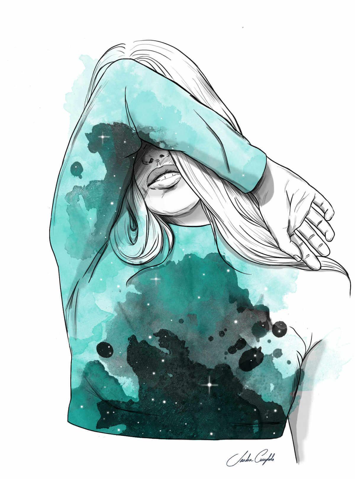 ilustración de chica tapandose