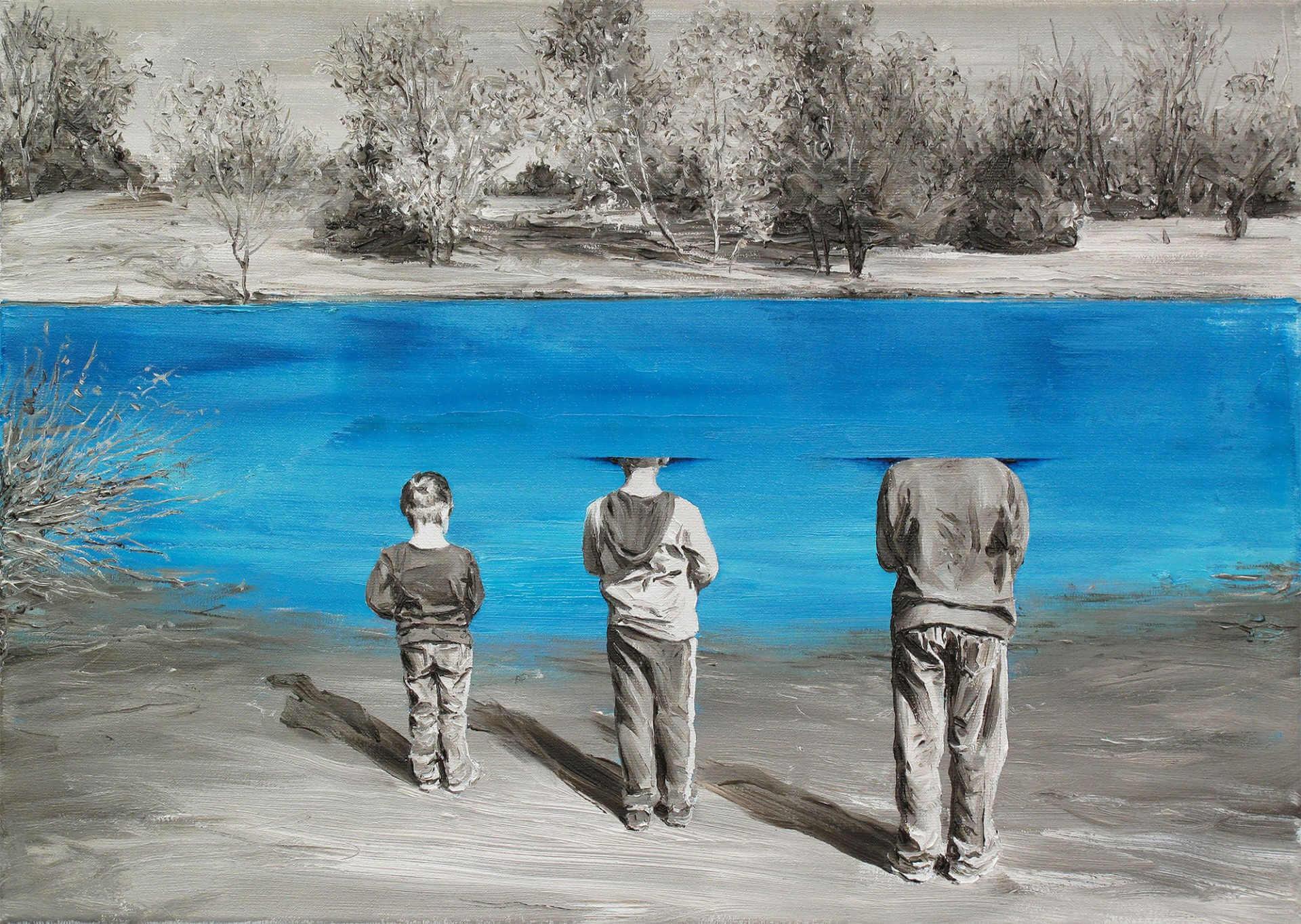 Cuadro de Paco Pomet de niños en un estanque con la cabeza dentro del agua