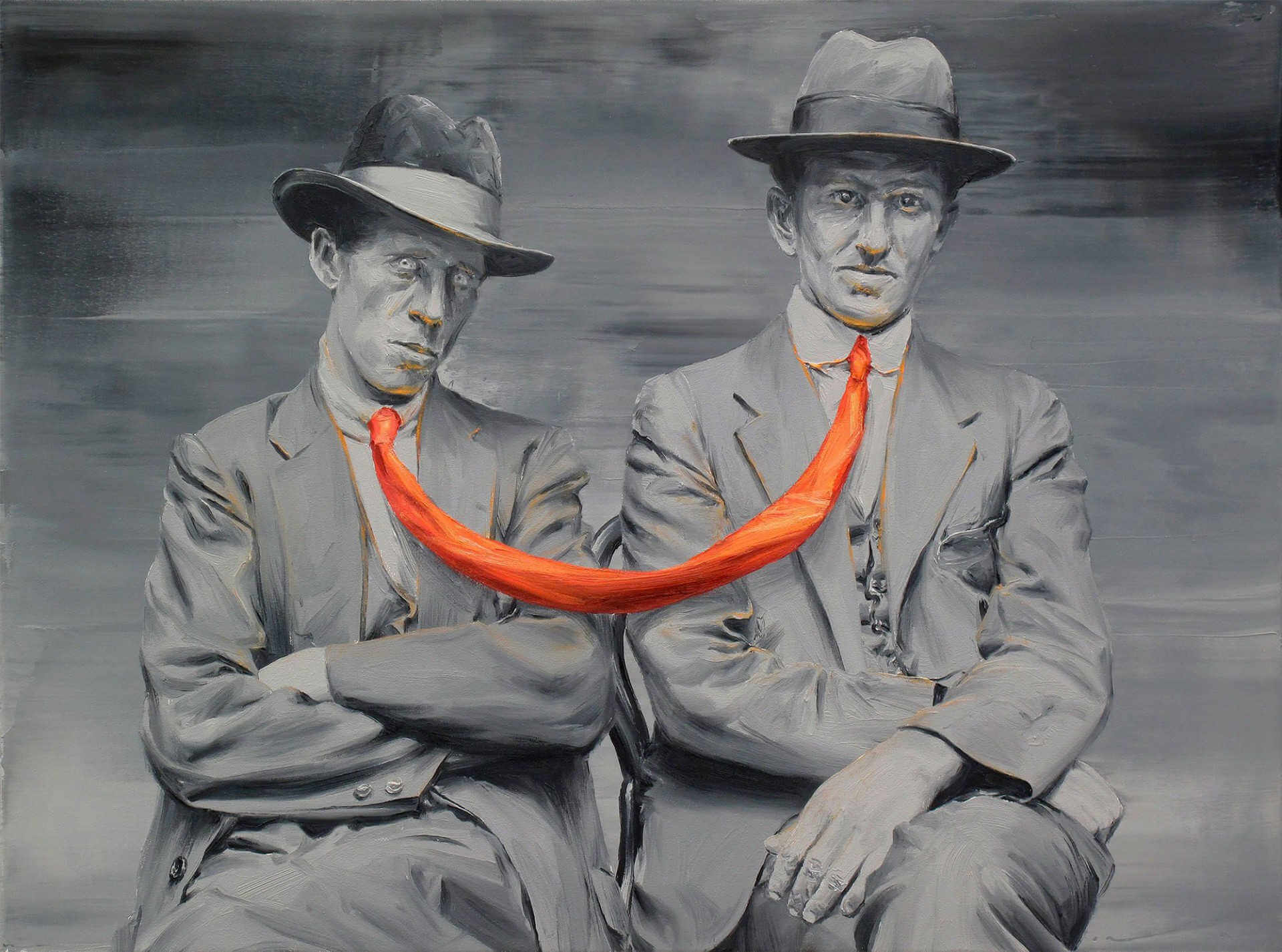 Retrato surrealista de Paco Pomet de hombres sentados unidos por una corbata