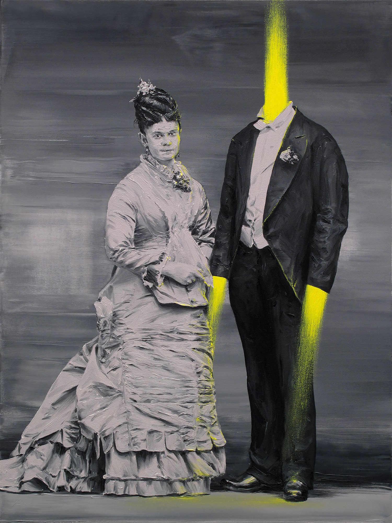 Pintura al oleo surrealista de paco pomet de matrimonio y hombre explotado