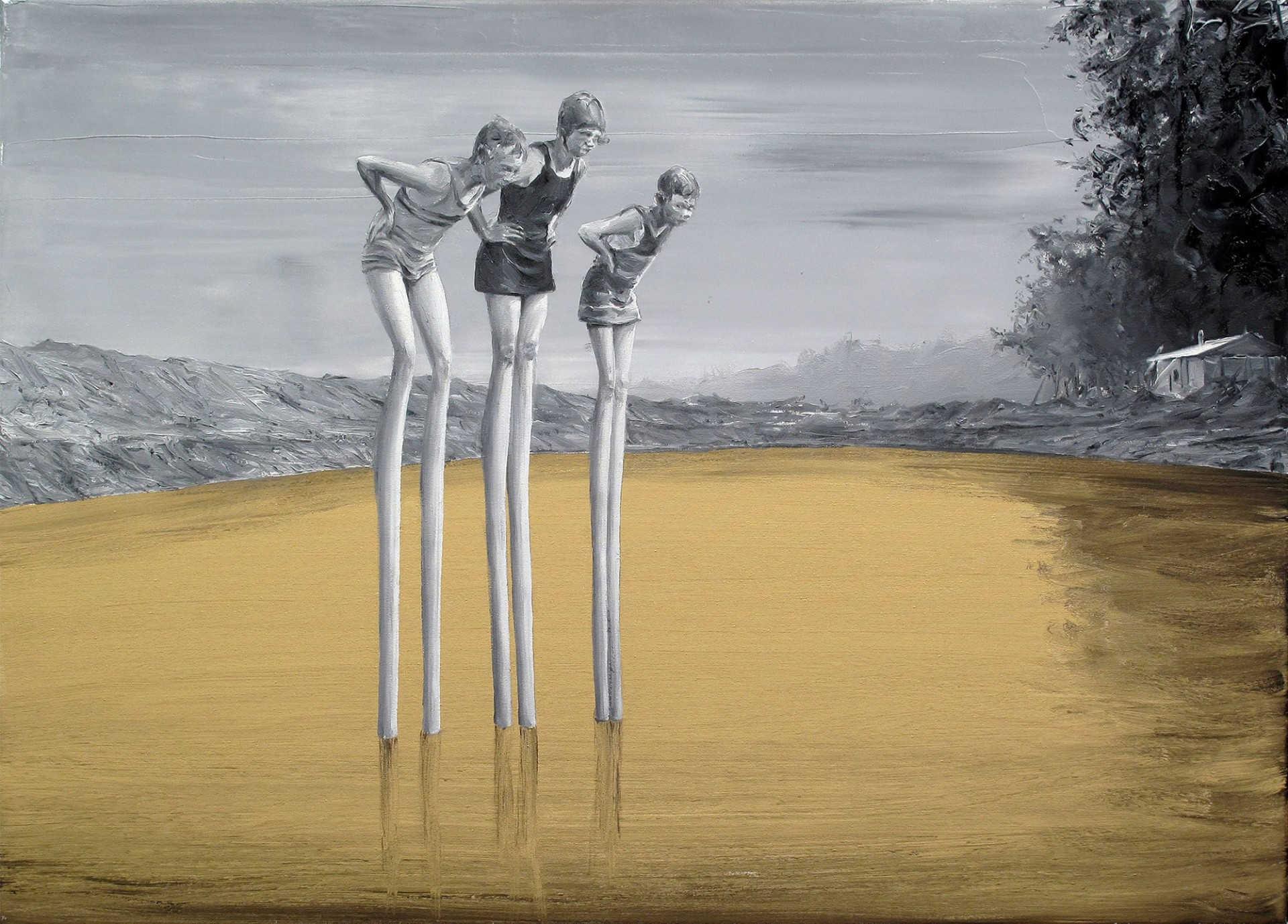 Pintura surrealista de paco pomet de niño en un lago como su fueran flamencos