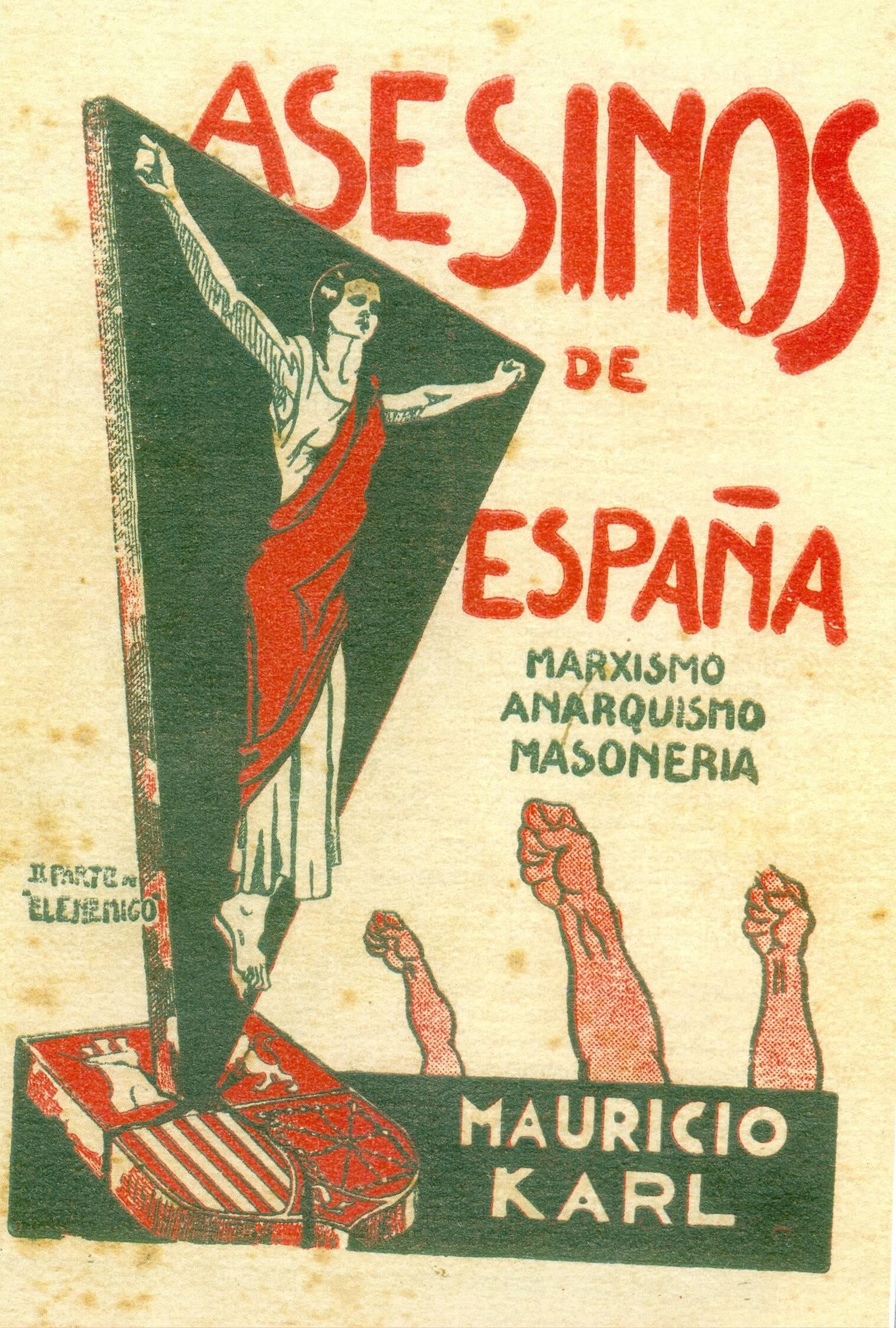Cartel de la guerra civil española ASESINOS DE ESPAÑA