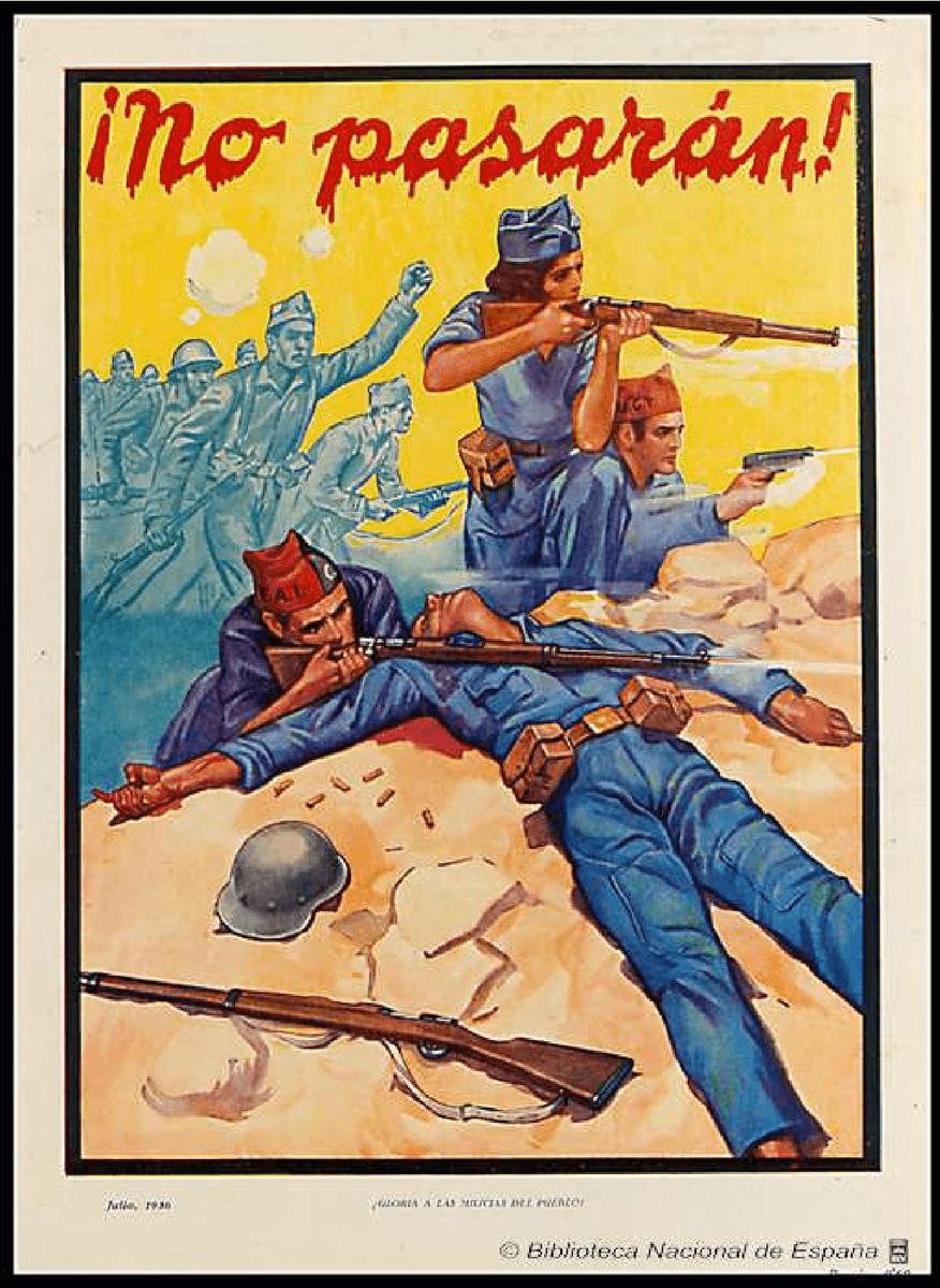 Cartel con el lema NO PASARAN