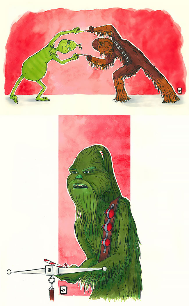 eñ grinch y chewbacca fusion cartoon