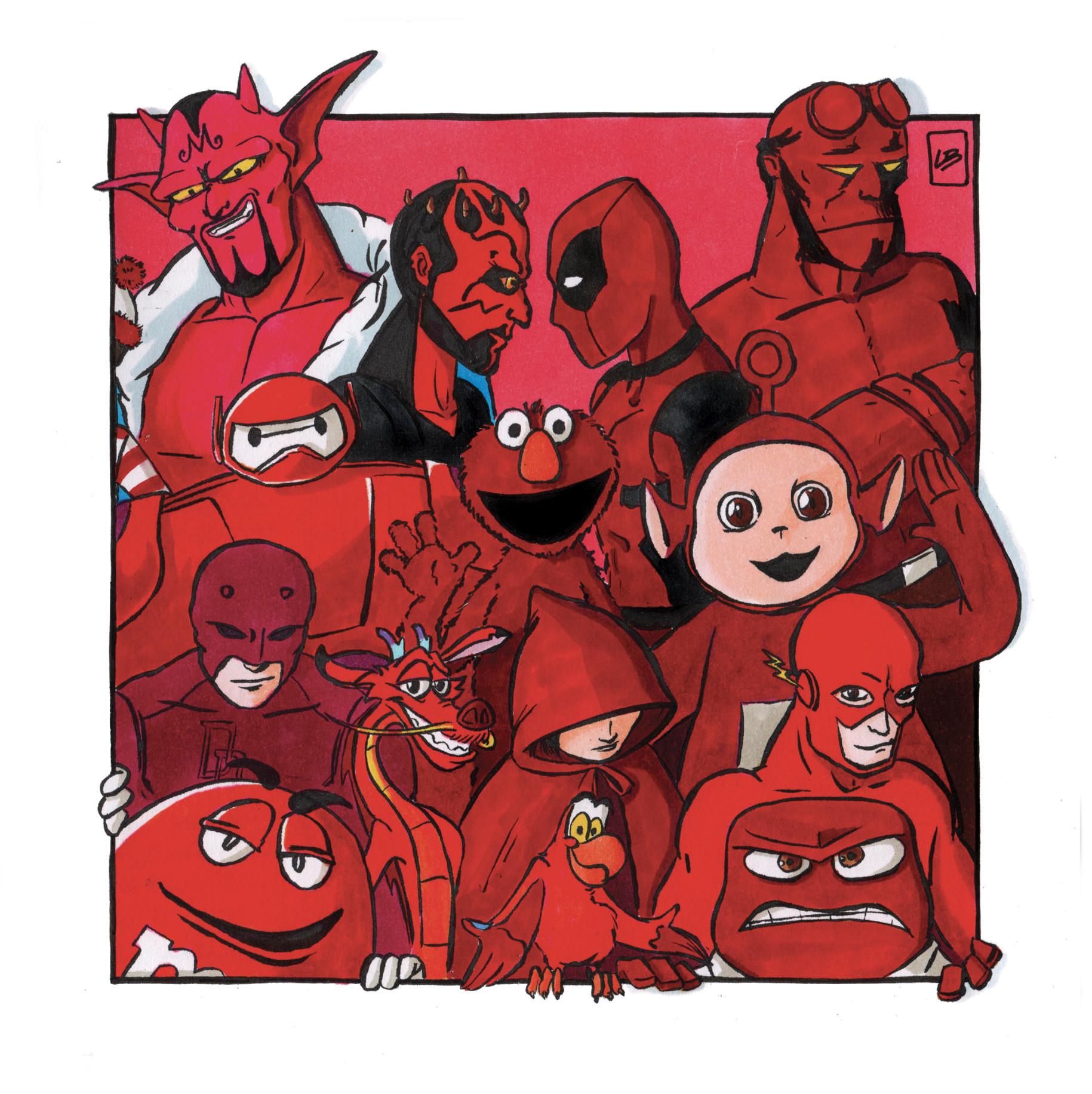 personajes populares color rojo