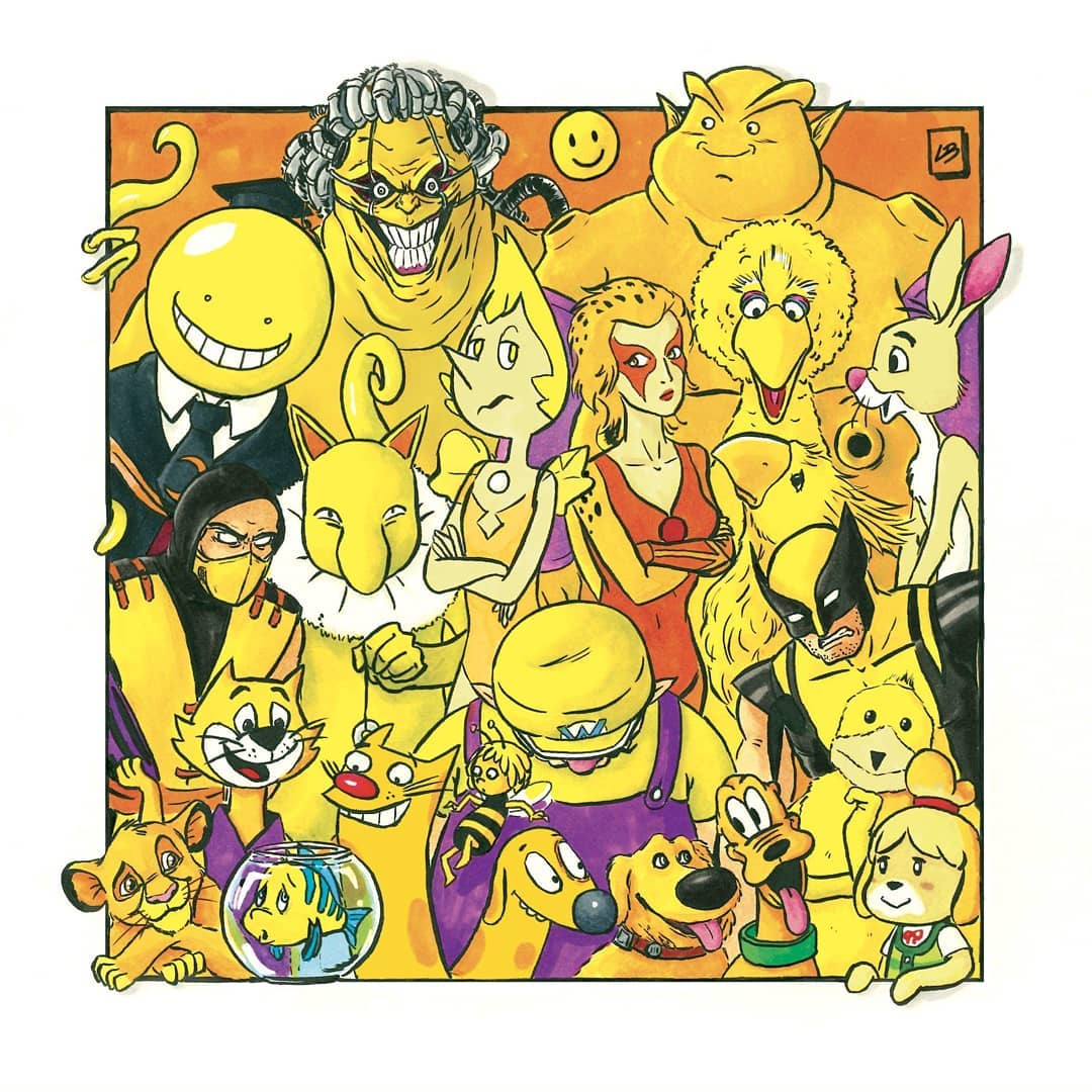 color amarillo personajes cartoon