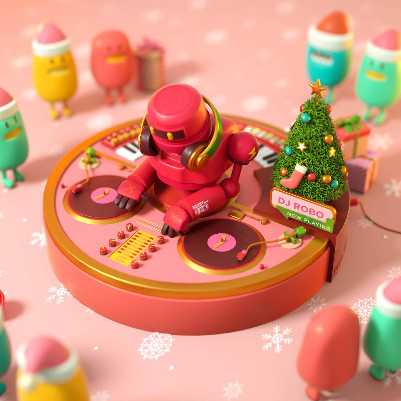 DJ ROBO ILUSTRACION 3D TOYODA