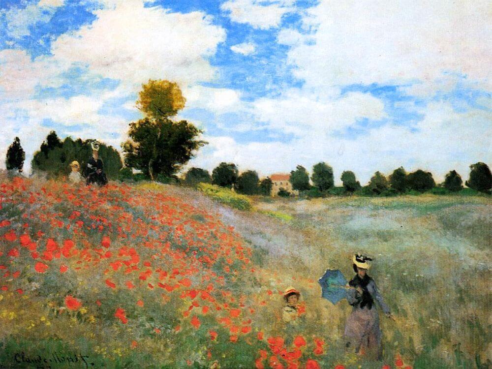 paisaje impresionista con mujeres y flores rojas de Monet