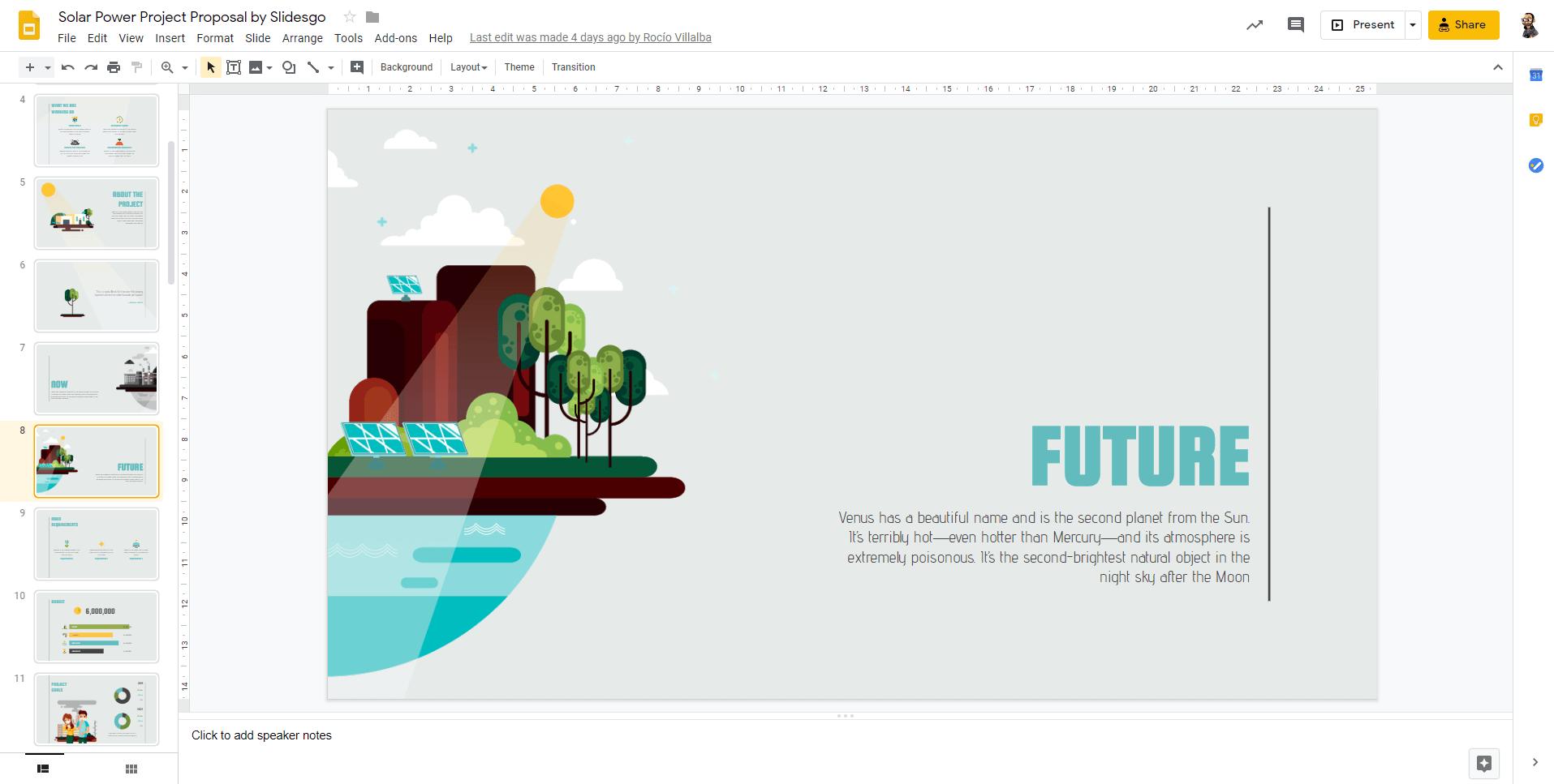 Entorno de trabajo de slidego para crear presentaciones