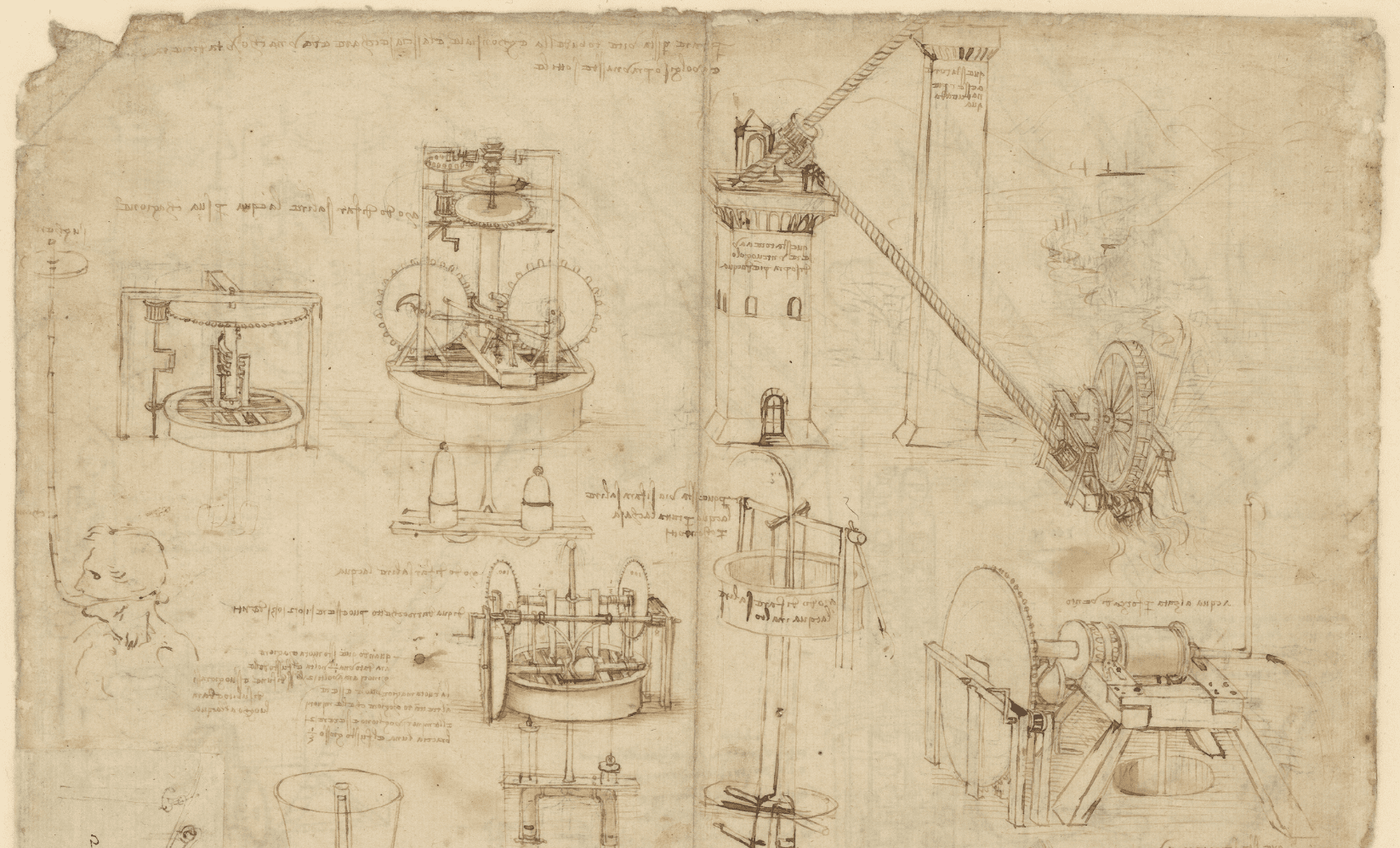 mecanismos de trabajo dibujados en el codice atlantico de leonardo da vinci