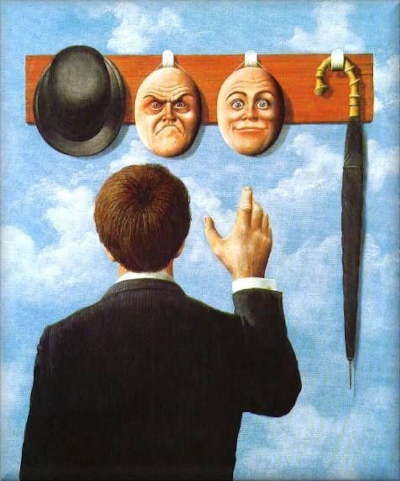 Magritte y su obra surrealista se hombre en perchero con caras