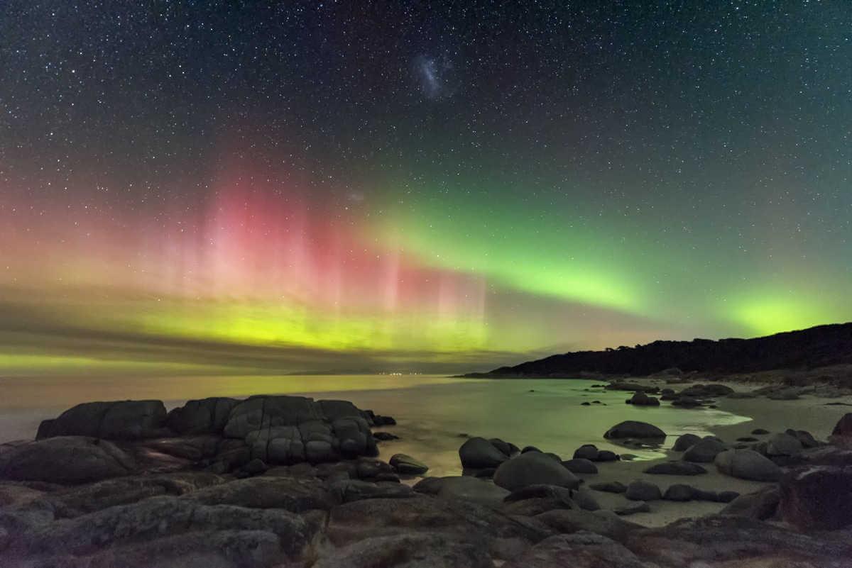Aurora Australis desde la playa de Beerbarrel por James Stone (Australia)