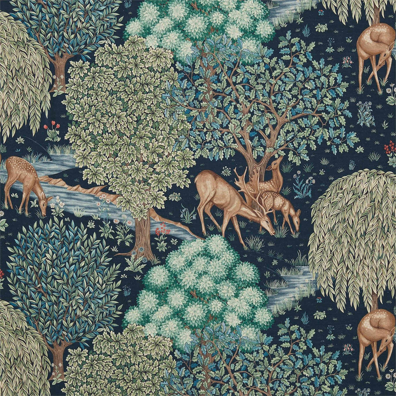 ilustracion de animales arts & crafts de william morris