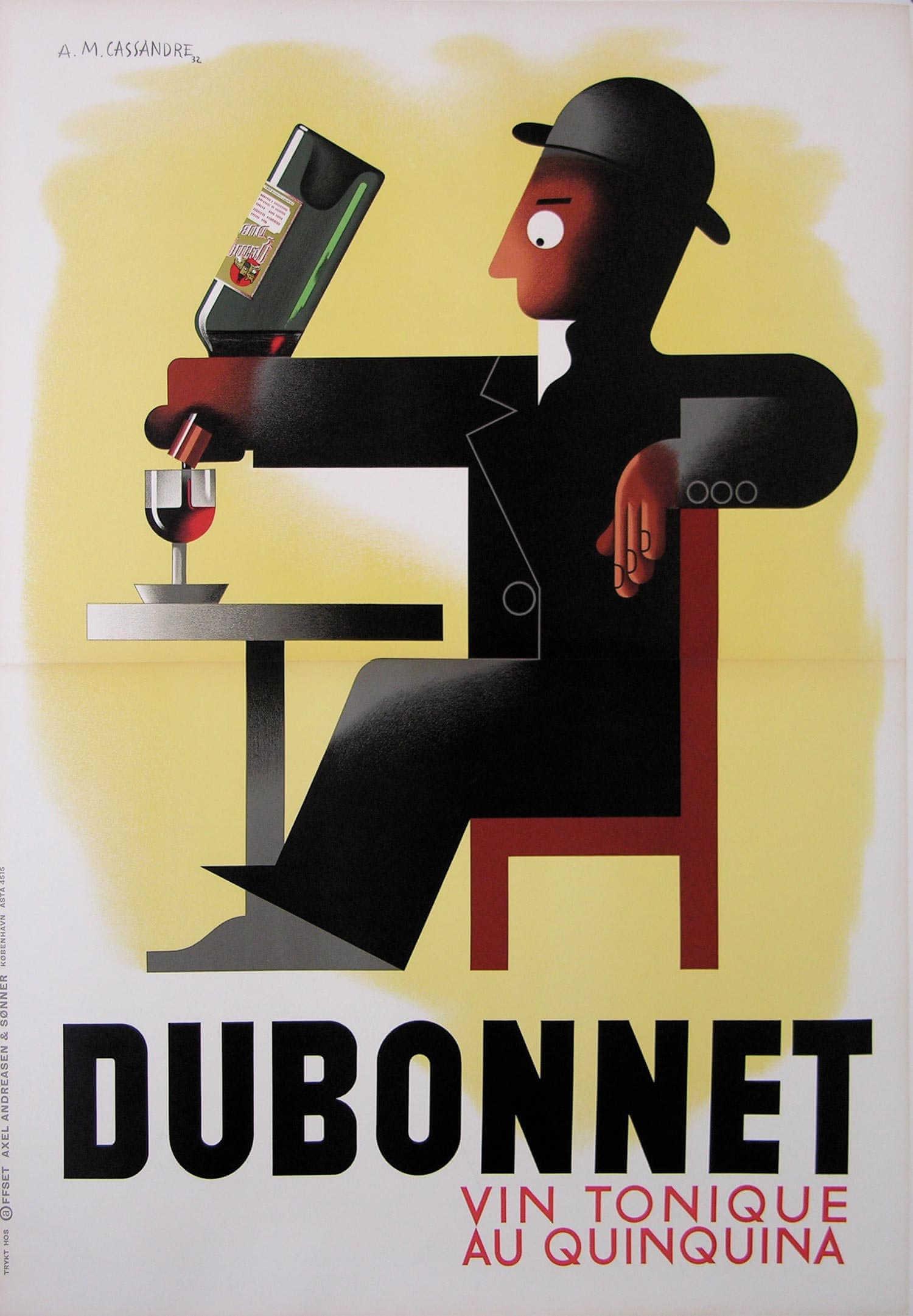 Dubonnet, cartel de vino francés diseñado por AM Cassandre