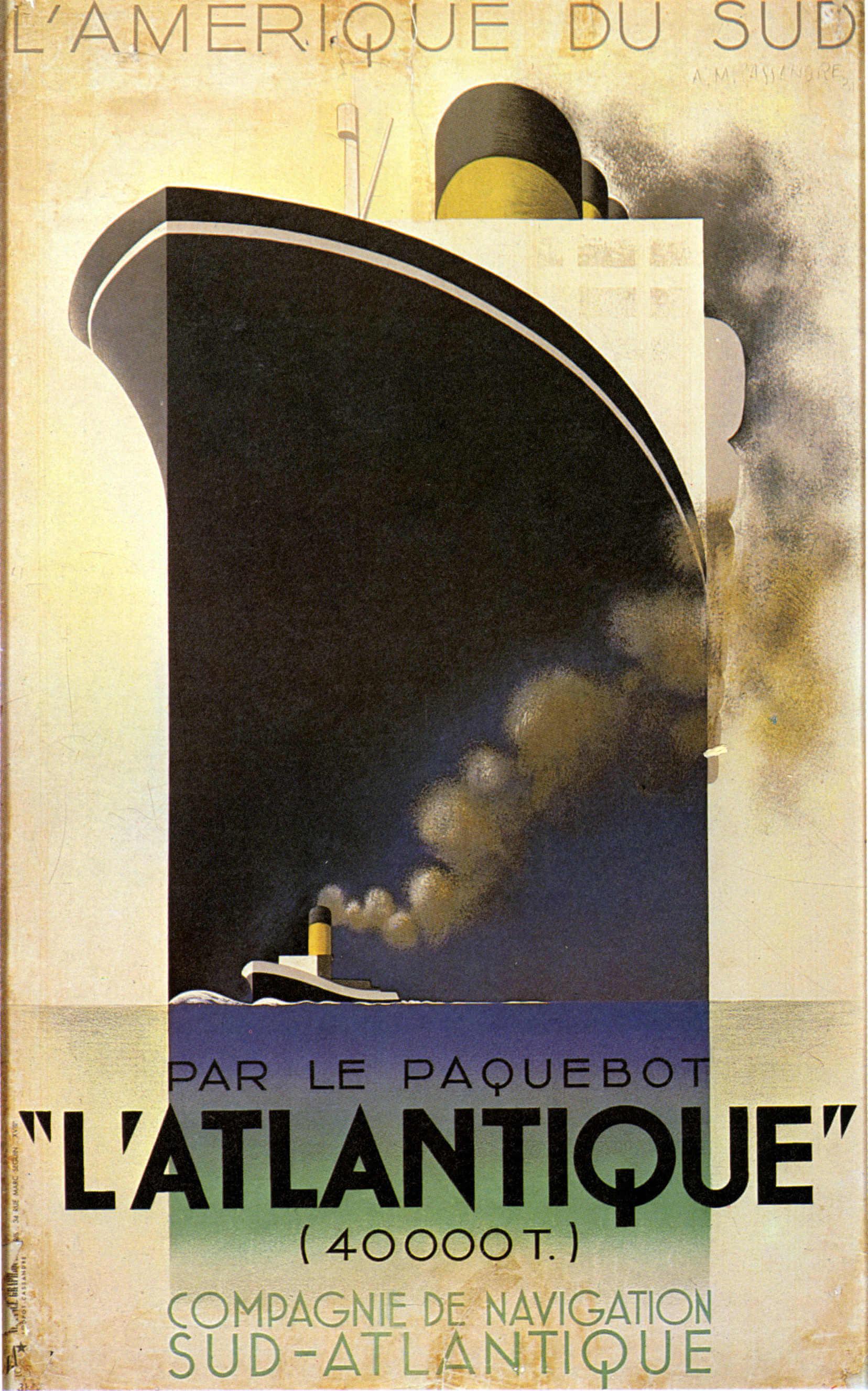 Cartel de la compañia de navegación del sur-atlantico de AM Cassandre