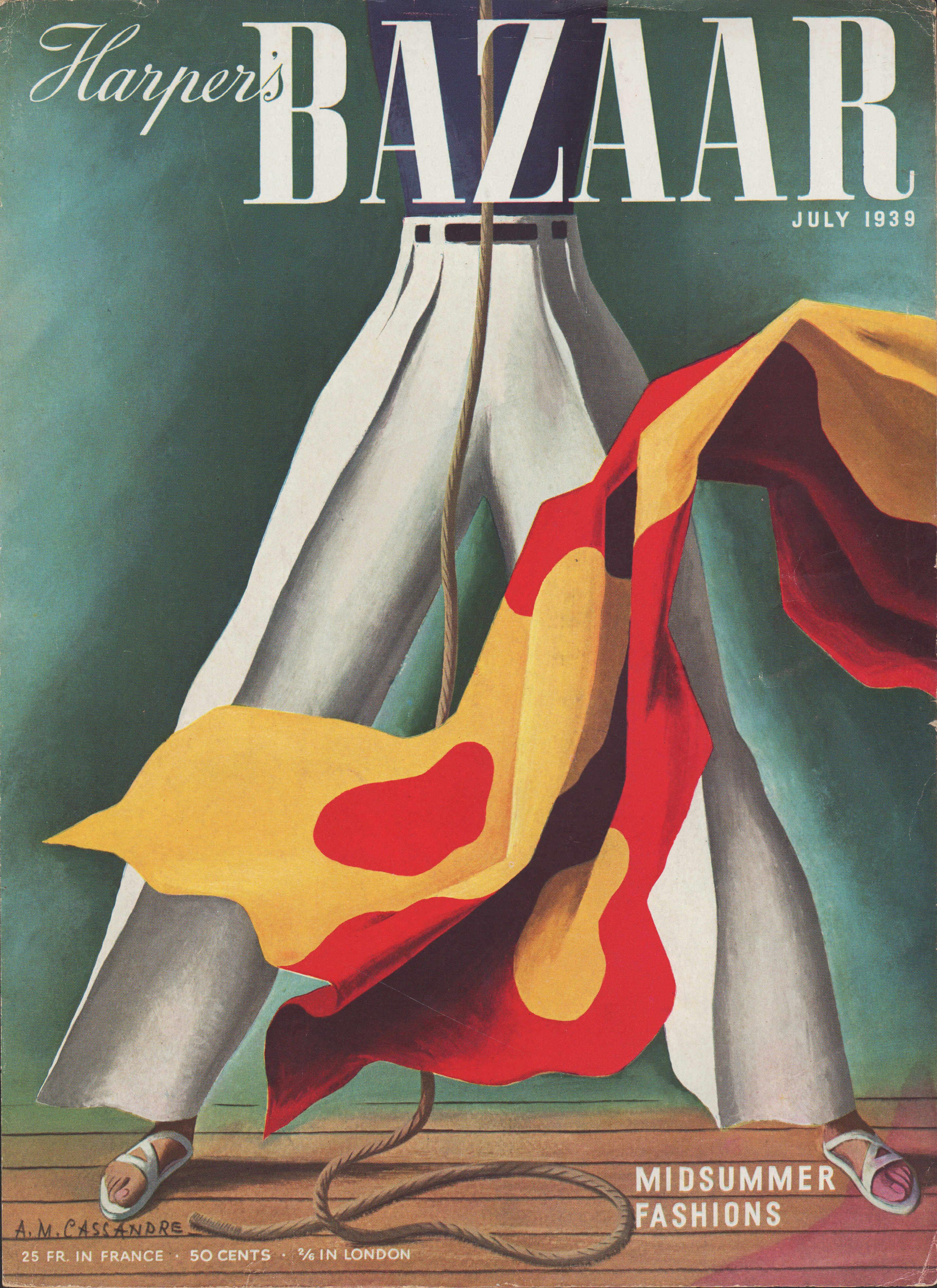 Portada Harpers Bazaar Julio 1939 diseñada por AM Cassandre