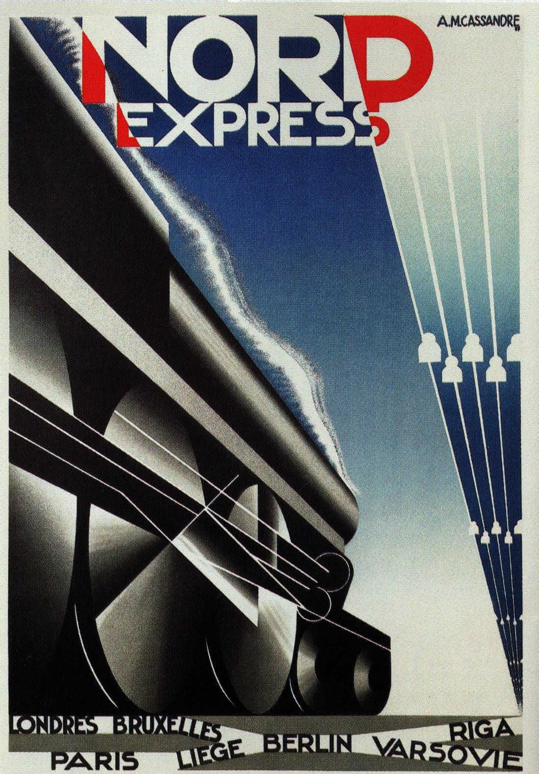 Cartel cubista de Nord Express, tren con destinos en ciudades europeas de AM cassandre