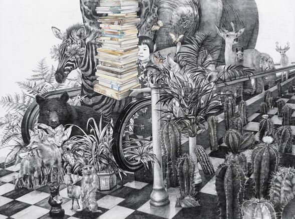 animales y libros ilustracion zhao na