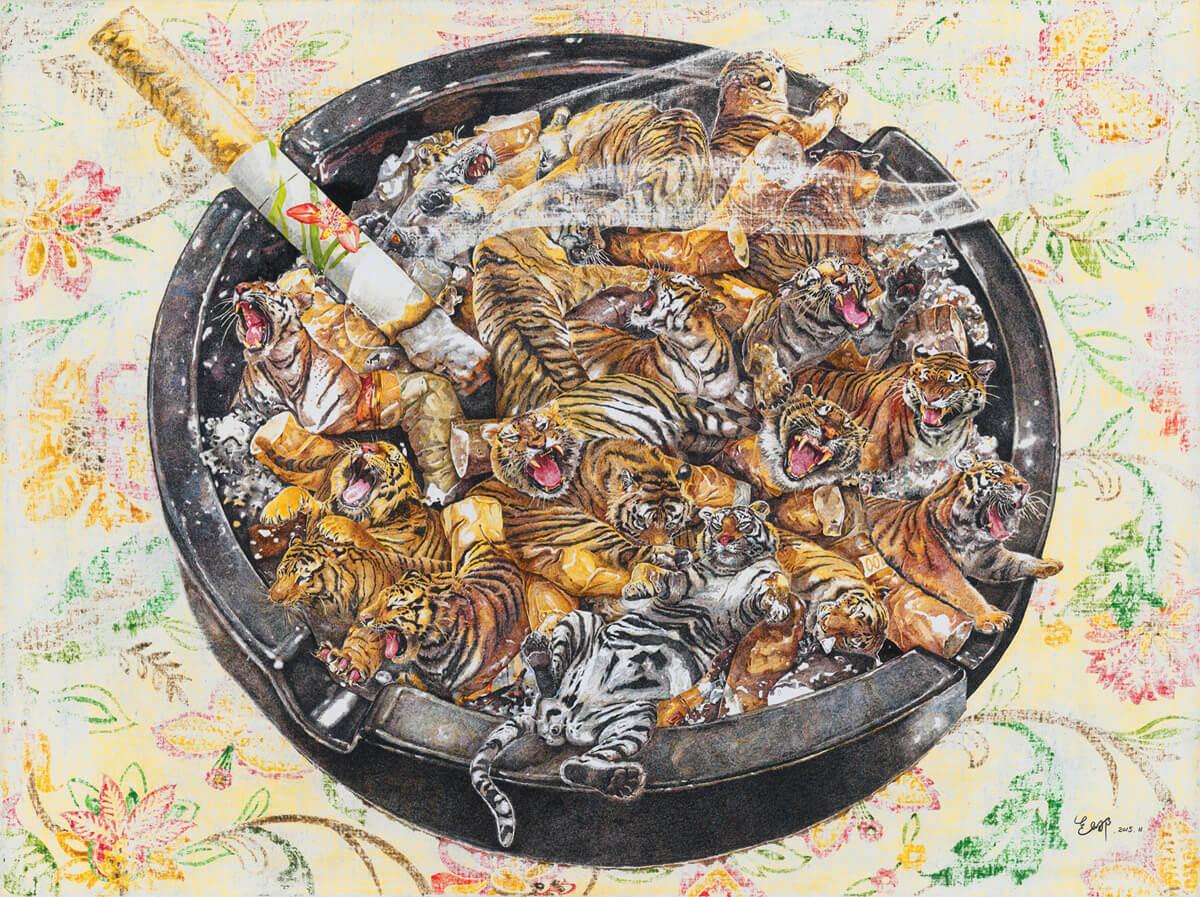 cenicero con tigres ilustracion Zhao Na