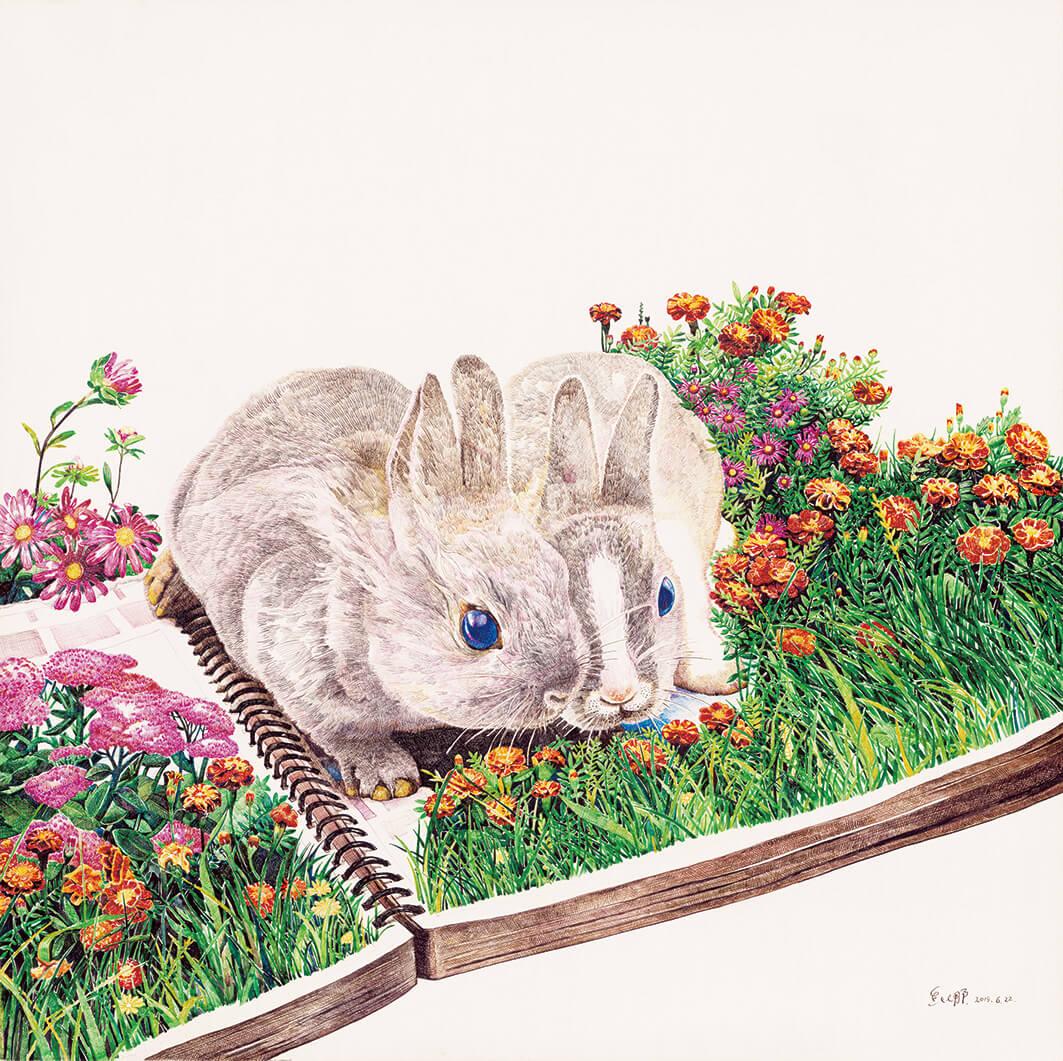 conejos en pasto con flores zhao na