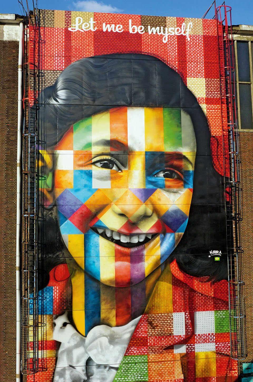 Mural de Anna Frank hecho por Eduardo Kobra