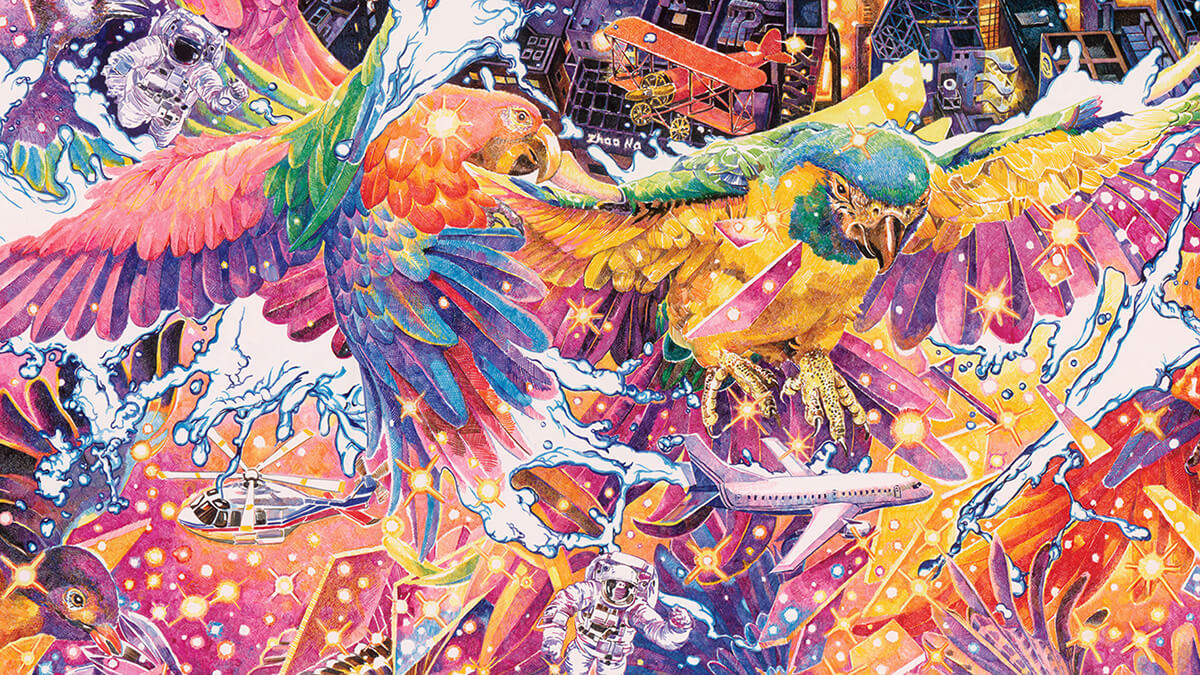 ilustraciones collage colores zhao na